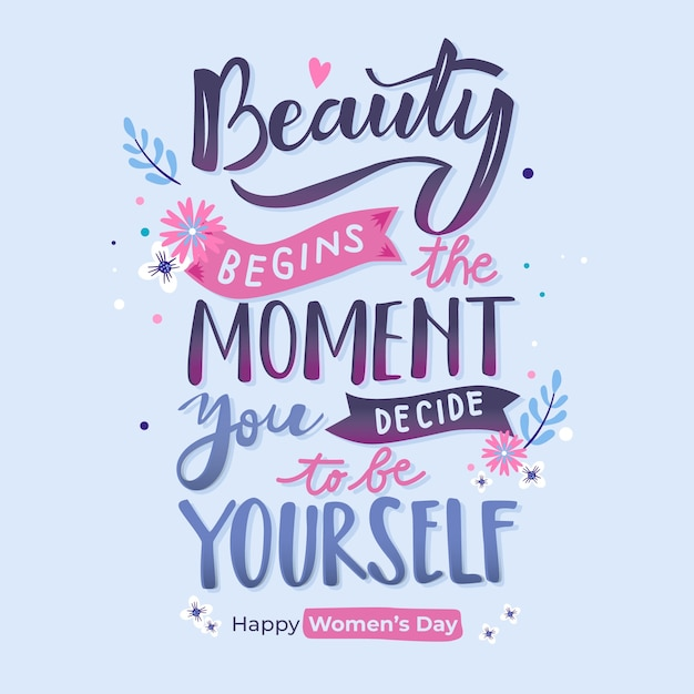 Lettering womens day theme Free Vector