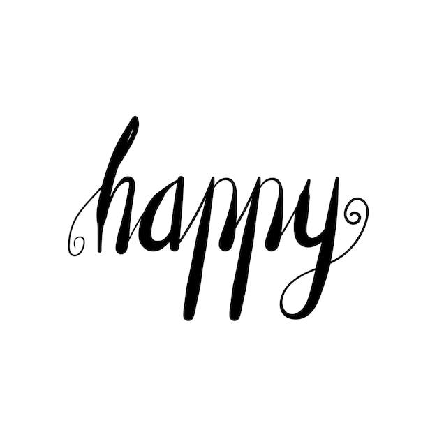 lettering word happy doodle vector illustration vector premium