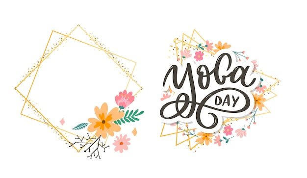 Lettering yoga. background international yoga day. design for poster, t-shirts, bags. yoga typography. elements for labels, logos, icons, badges. Premium Vector