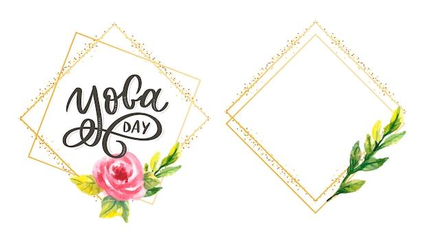Надпись йога. справочная информация международный день йоги. для плаката, футболки, сумки. йога типография. векторные элементы для этикеток, логотипов, значков, значков. Premium векторы
