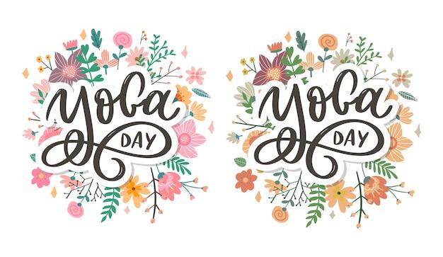 Надпись йога. справочная информация международный день йоги. вектор для плаката, футболки, сумки. йога типография. векторные элементы для этикеток, логотипов, значков, значков. Premium векторы