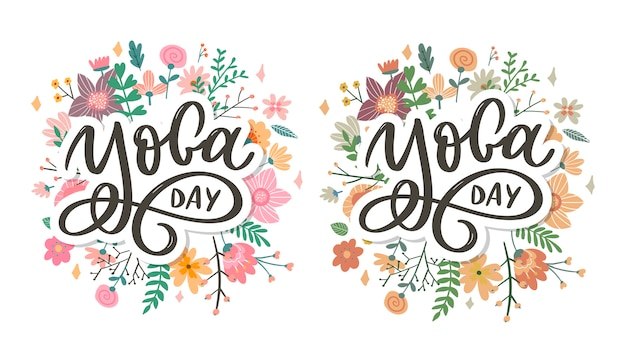 Lettering yoga.  background international yoga day. vector  for poster, t-shirts, bags. yoga typography. vector elements for labels, logos, icons, badges. Premium Vector