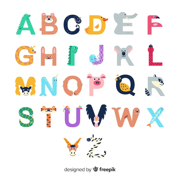 Letters from a to z with cute animal shapes Free Vector