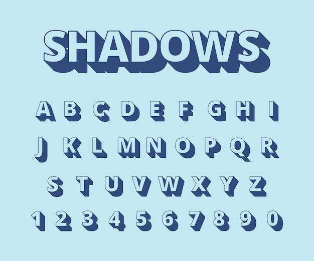 편지 긴 그림자. 복고 스타일 타이포그래피 컬렉션 집합에 문자와 숫자와 알파벳. 그림 알파벳 타이포그래피, 서체 헤드 라인, 활자 Abc 프리미엄 벡터