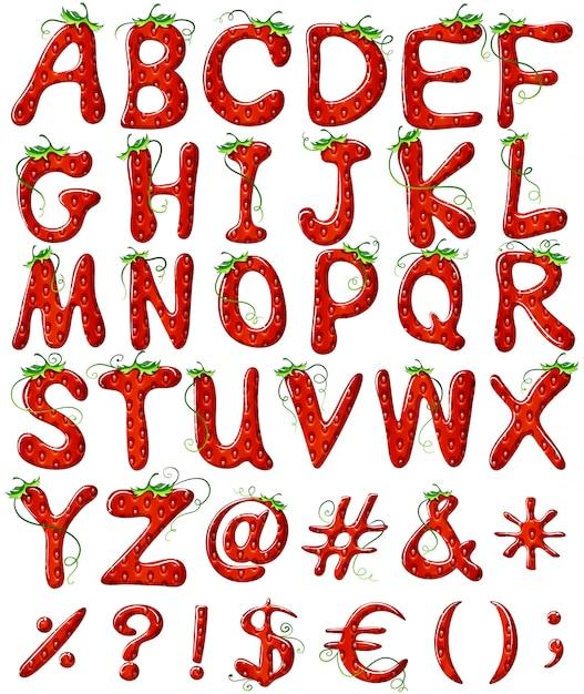 イチゴのデザインとアルファベットの文字 無料ベクター