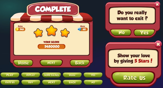 Level complete, exit and rate us menu pop up screen with stars and button Premium Vector