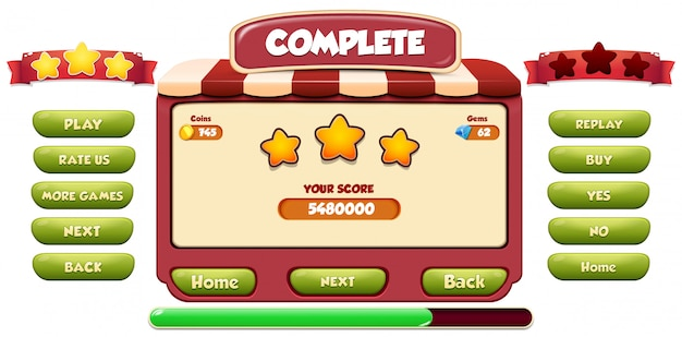 Level complete menu pop up screen with stars and button Premium Vector