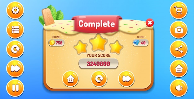 Level complete menu pop up with stars score and buttons gui Premium Vector