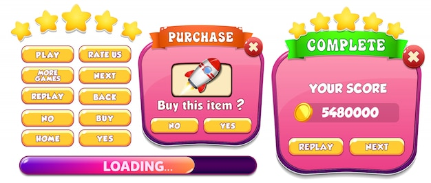 Level complete and purchase menu pop up screen with stars and button Premium Vector