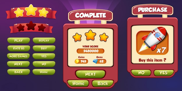Level complete and purchase menu pop up screen with stars, loading bar and button Premium Vector