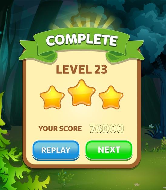 Level complete scene with stars score Premium Vector
