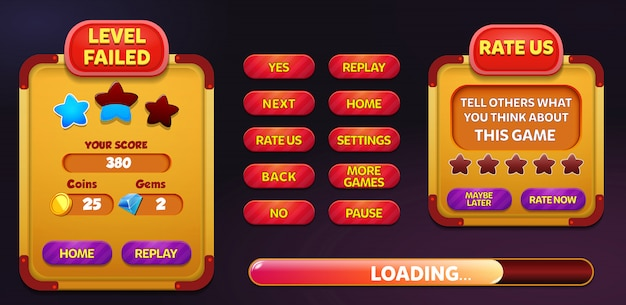 Level failed and rate us menu pop up screen with stars and button Premium Vector