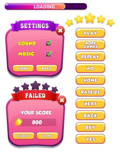 Level failed and settings menu pop up screen with stars and button Premium Vector