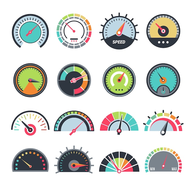 Level measure symbols. speedometer guage indication fuel vector infographic symbols collection Premium Vector