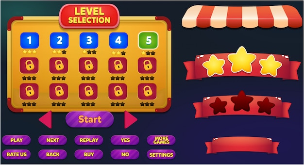 Level selection game menu scene with game buttons, loading bar and win lose stars Premium Vector