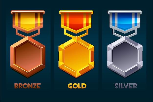 Level up badge reward icon gold, silver, bronze for ui games. vector illustration set award templat