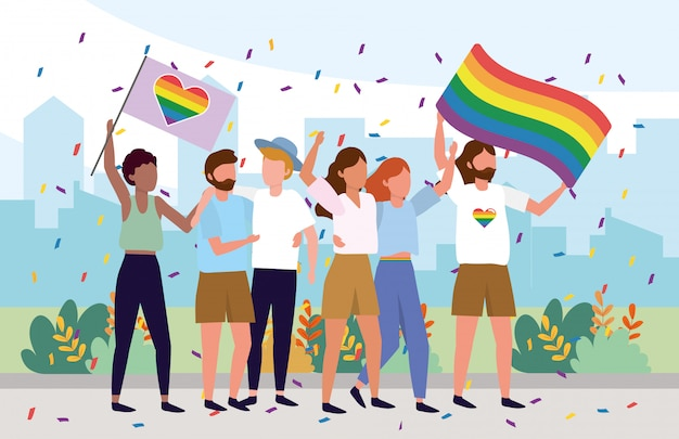 Lgbt community together with rainbow flags Premium Vector