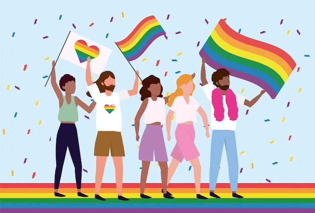 Lgbt community with rainbow heart and flag Premium Vector