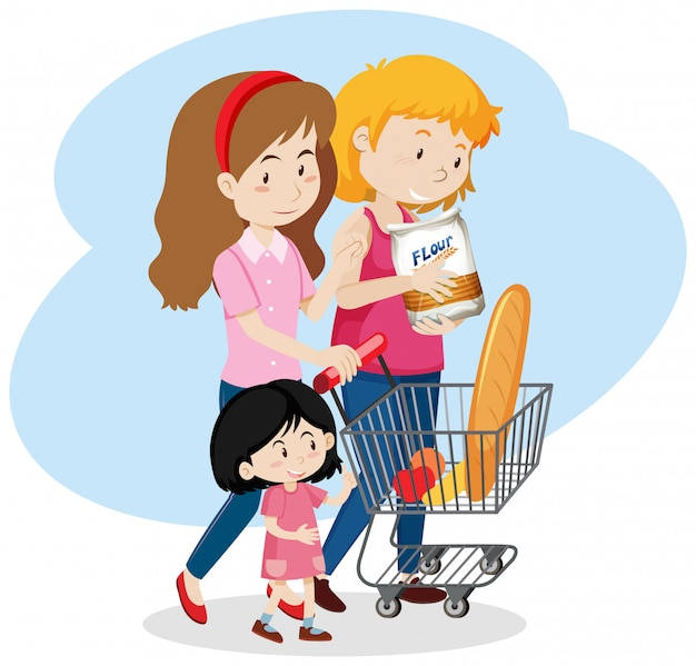 Lgbt family go to shopping Premium Vector