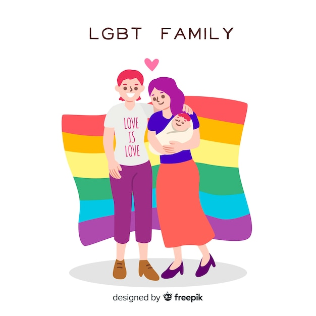 Lgbt family of the pride day Free Vector