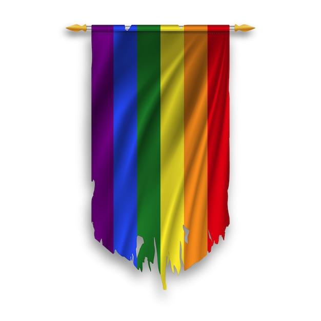 Lgbt flag on the wall hanged pennant. ragged lgbt flag. Premium Vector