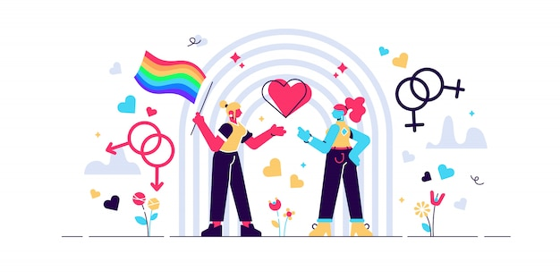 Lgbt illustration. flat tiny bisexual persons with rainbow concept. transgender flag sign to symbolize love, equality, rights and tolerance. movement against discrimination and trans culture. Premium Vector