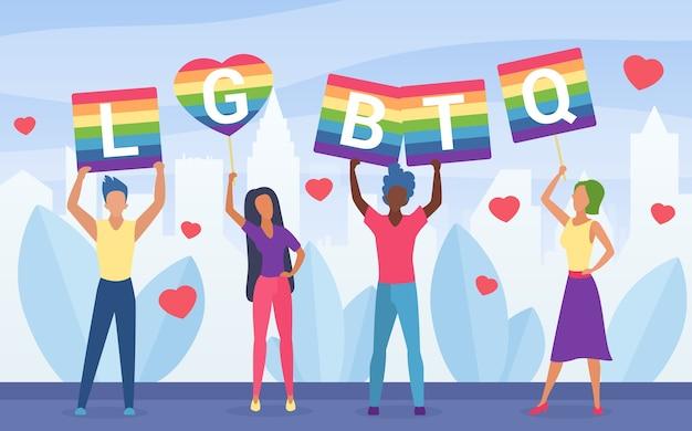 Lgbt pride activism concept  illustration. Premium Vector