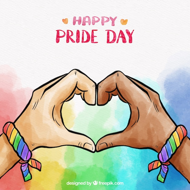 Lgbt pride background in watercolor style Free Vector