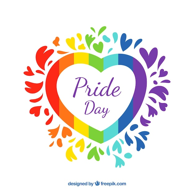 Lgbt pride background with colorful heart Free Vector
