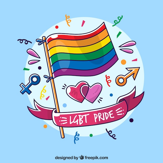 Lgbt pride background with flag Free Vector