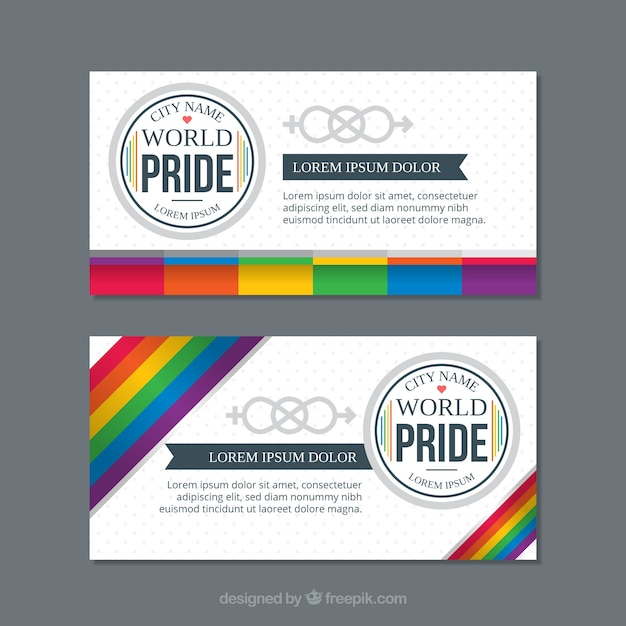 Lgbt pride banners in flat style Free Vector