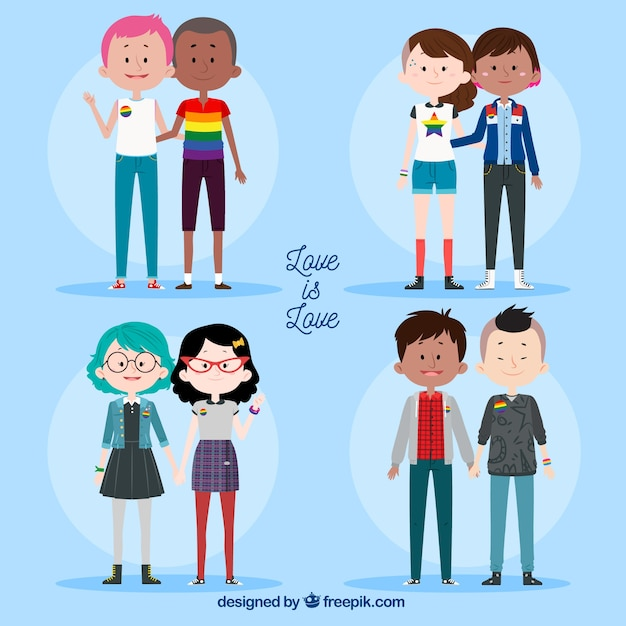 Lgbt pride couples collection in hand drawn style Free Vector
