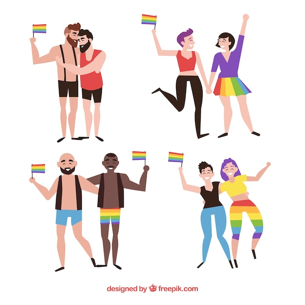 Lgbt pride couples collection Free Vector
