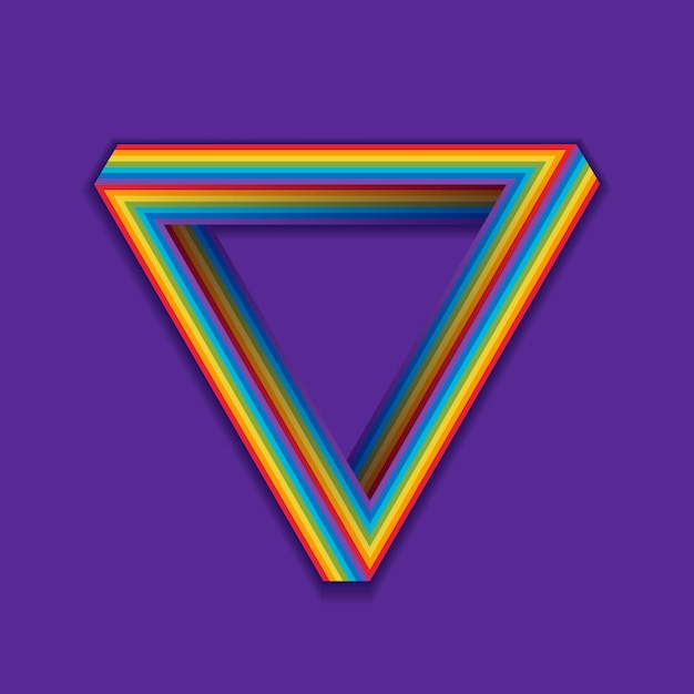 Lgbt pride symbol, rainbow seamless triangle on a violet. Premium Vector