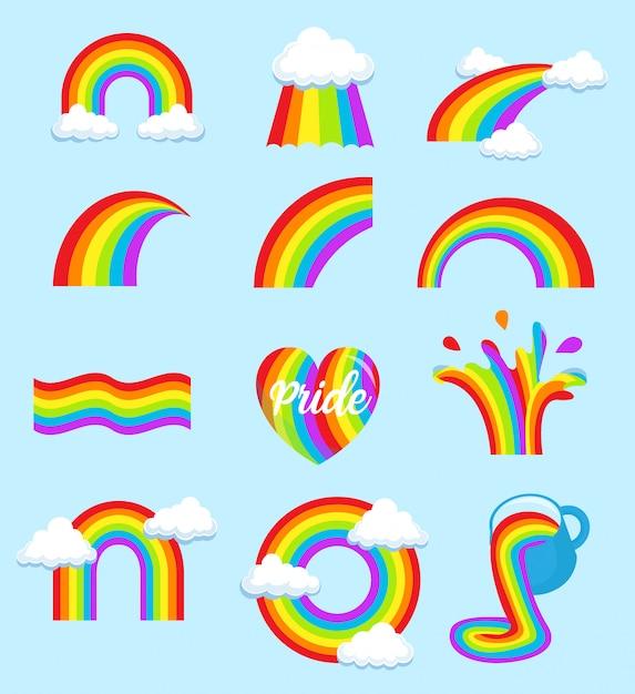 Lgbt rainbow flag set Premium Vector
