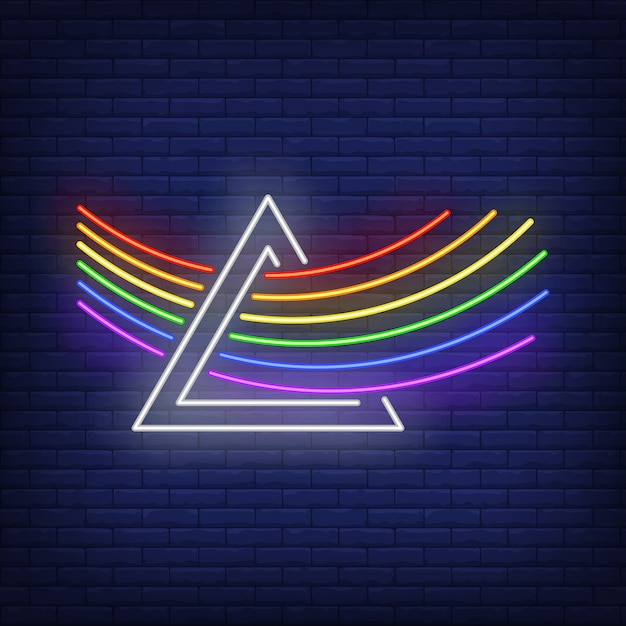 Lgbt rainbow going through prism neon sign Free Vector