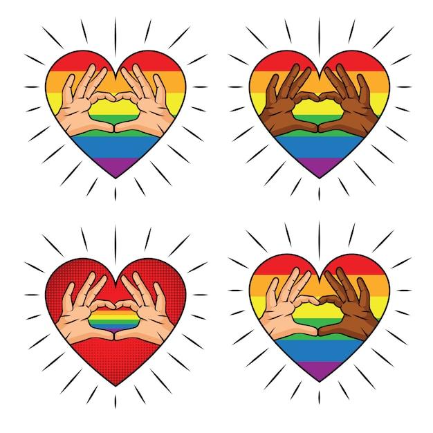 虹色のハート形の手のベクトルカラーイラスト。カラープリントさまざまな肌の色の指からの愛のサイン。 lgbtコミュニティのロゴのセット Premiumベクター