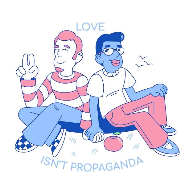 Персонажи из мультфильма в плоском дизайне, иллюстрации с двумя мужчинами любви lgbt держат руку вместе, гомосексуалистов дружба между милой улыбкой счастливых мальчиков-геев. Premium векторы