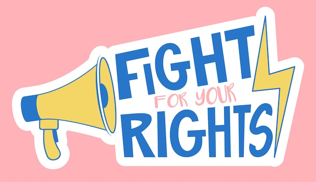 ノイズメガホンで抗議集会の抗議メッセージを送る権利メッセージのために戦います。フェミニズム、lgbtコミュニティへの抗議情報メッセージ Premiumベクター