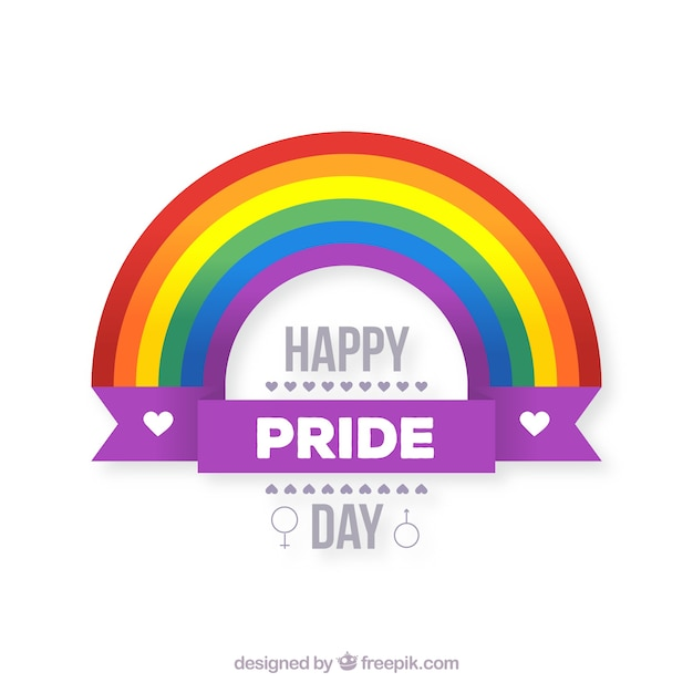 Lgtb pride background with flat rainbow Free Vector