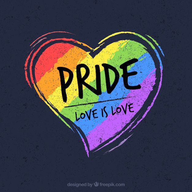 Lgtb pride background with heart Free Vector