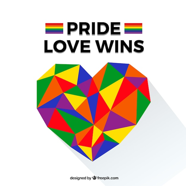 Lgtb pride background with polygonal heart Free Vector