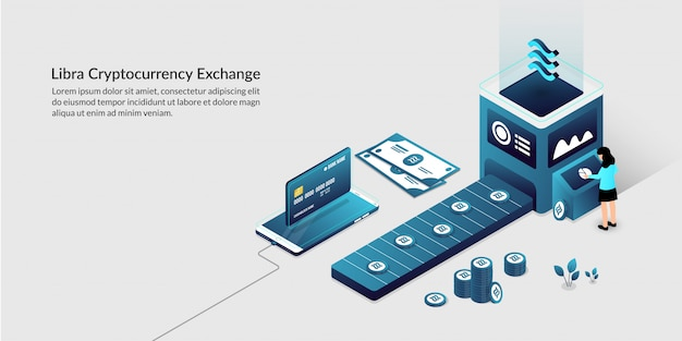 Libra cryptocurrency exchange, the next generation of facebook digital global coin Premium Vector