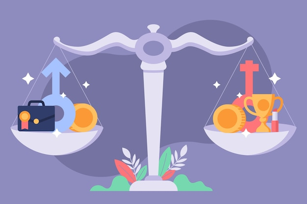 平衡ジェンダー平等コンセプトの天秤座 無料ベクター