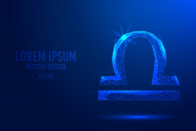 Libra seventh zodiac sign abstract background. linear and polygonal 3d concept of horoscope, celestial constellation. Premium Vector