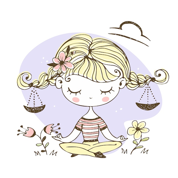 Libra zodiac sign. cute girl with pigtails in the lotus position. Premium Vector
