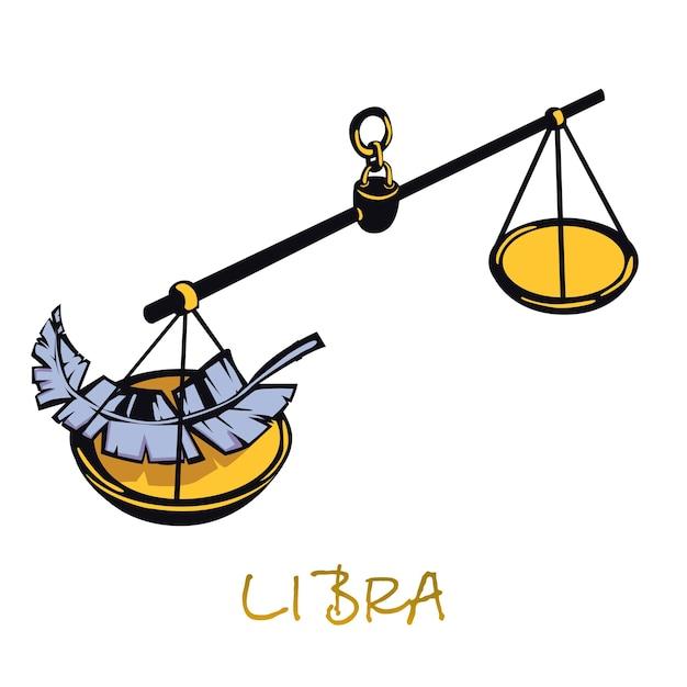 てんびん座の星座フラット漫画。天の正義はオブジェクトをスケーリングします。占星術の星占いのシンボル、平衡、バランス、調和の概念。孤立した手描きアイテム Premiumベクター