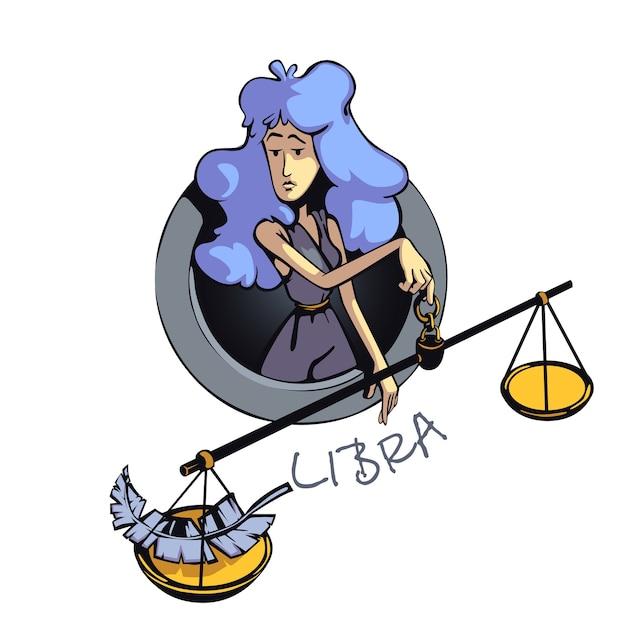 てんびん座の星座女性フラット漫画。空気占星術のシンボルの特徴、スケールを持つ女性。商用の印刷デザインに2d文字を使用する準備ができました。分離されたコンセプトアイコン Premiumベクター