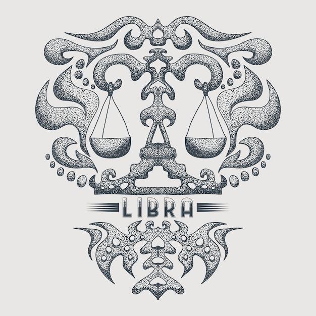 Libra zodiac vintage Premium Vector