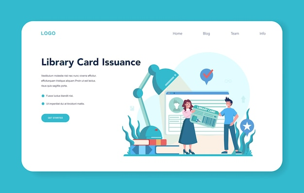 Librarian web banner or landing page. library staff holding and sorting book. knowledge and education idea. llibrary bookshelves guid. Premium Vector
